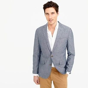J. Crew ludlow chambray linen suit jacket 46R